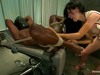 AnyPorn Porno - Tied Up Black Dude Getting Ball And Cock Torture And  Sitting