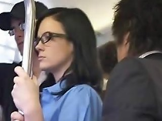 NuVid Porno - Brunette Gets Felt Up And Jacks Off And Sucks Cock On A Bus Nuvid