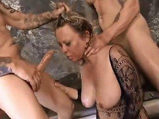 JizzBunker Porno - 2 Big Dicks Destroy Puke Slut Milf Mallory Taylor 039 S Throat